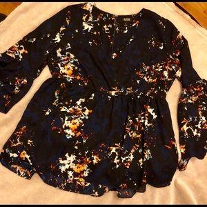 Navy Blue & Floral Blouse w/ Peplum Sleeves